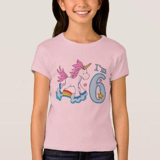 T-shirt Anniversaire d'arc-en-ciel de licorne 6ème