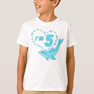 T-shirt Anniversaire de coeur de dauphin 5ème