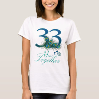 T-shirt anniversaire de mariage/33/trente-troisième/numéro