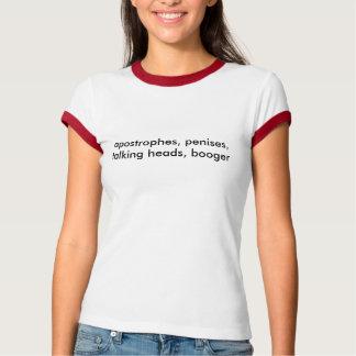 T-shirt apostrophes, pénis, porte-paroles, booger