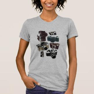 T-shirt appareil-photo affligé de photographie de