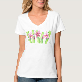 T-shirt Aquarelle Orchidée Fleur Colorié Décorative