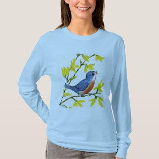 T-shirt Arbre bleu d'oiseau de chant mignon