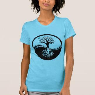 T-shirt Arbre de Yin Yang de noir et de blanc de la vie