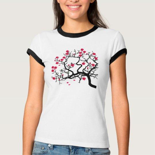 T-shirt Arbre japonais fleurs rouges