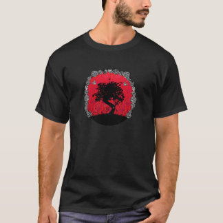 T-shirt Arbre rose de bonsaïs de tatouage d'hirondelle