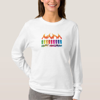 T-shirt Arc-en-ciel Menorah de Hanoukka