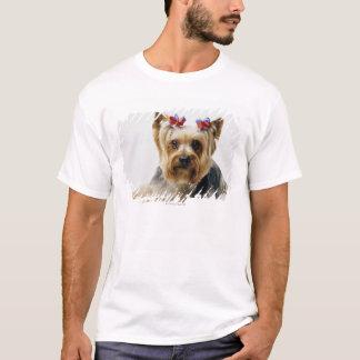 T-shirt Arcs de port de rouge de terrier de Yorkshire