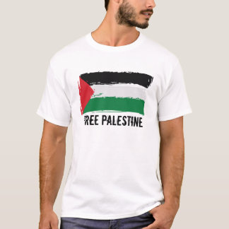 T-shirt Art de brosse de drapeau de la Palestine -