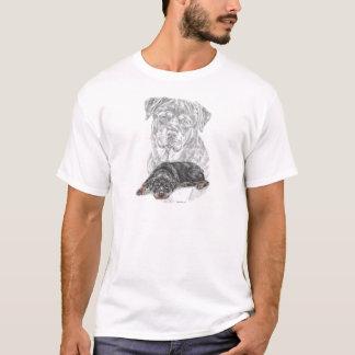 T-shirt Art de chien de rottweiler