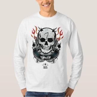 T-shirt Art de tatouage de crâne et de flammes du peloton