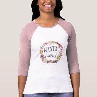 T-shirt Art floral lunatique de Typograpy de guirlande de