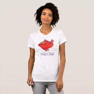 T-shirt Art lunatique de poissons d'enfant sauvage en