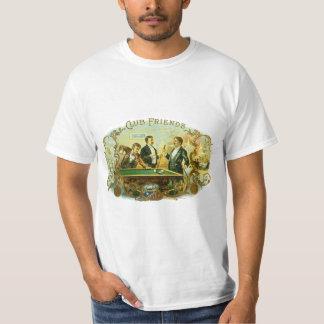 T-shirt Art vintage d'étiquette de cigare, billards d'amis