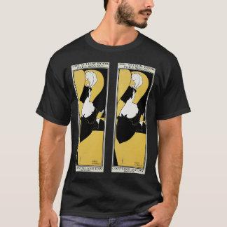 T-shirt Art vintage Nouveau, femme lisant un livre jaune