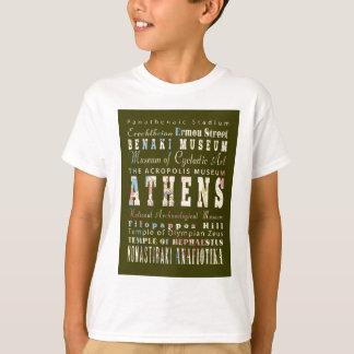 T-shirt Attractions et endroits célèbres d'Athènes, Grèce