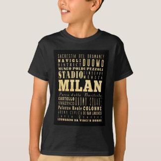 T-shirt Attractions et endroits célèbres de Milan, Italie