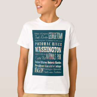 T-shirt Attractions et endroits célèbres de Washington,
