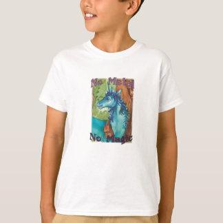 T-shirt - Aucun métal aucune magie - pièce en t bleue