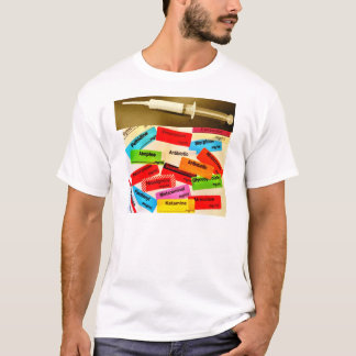 T-shirt Avant et dos - drogues et étiquettes anesthésiques