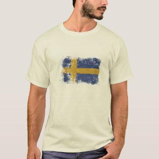 T-shirt avec porté le drapeau suédois