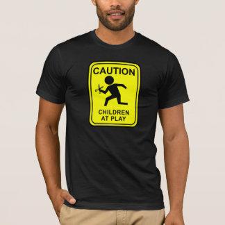 T-shirt Avertissez les enfants au jeu - en courant avec