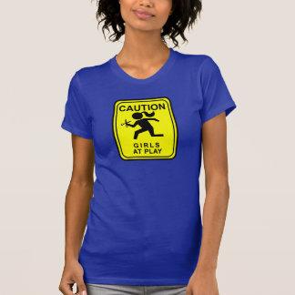 T-shirt Avertissez les filles au jeu - en courant avec des