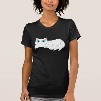 T-shirt Bande dessinée blanche mignonne de chat de Ragdoll