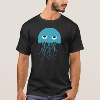 T-shirt Bande dessinée bleue lunatique de méduses