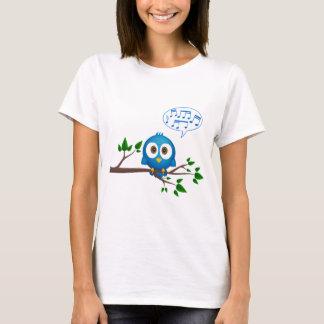 T-shirt Bande dessinée bleue mignonne d'oiseau de