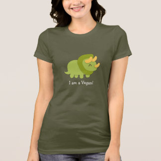 T-shirt Bande dessinée de Kawaii de Triceratops vert et