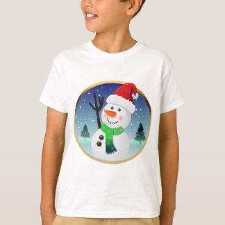 T-shirt Bande dessinée de Père Noël de bonhomme de neige