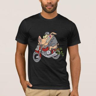 T-shirt bande dessinée de vélo de moto de porc de porc de