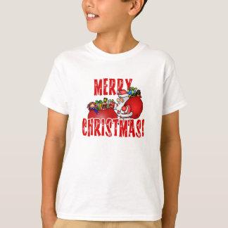 T-shirt Bande dessinée Père Noël et sacs des jouets de