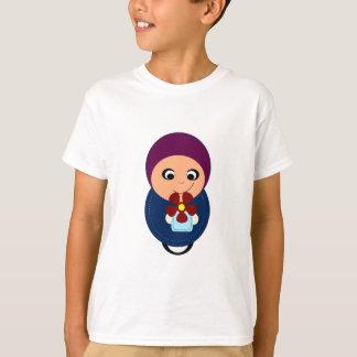 T-shirt Bande dessinée pourpre de hijabi de hijab de