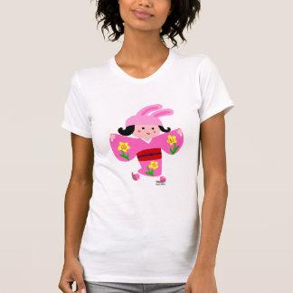 T-shirt Bande dessinée rose d'Usagi de fille de kimono