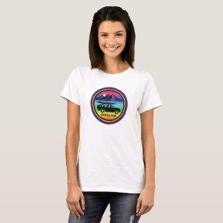 T-shirt Barbotage du logo pourpre T d'arc-en-ciel de