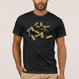 T-shirt Barres d'or en vrac sur un arrière - plan noir