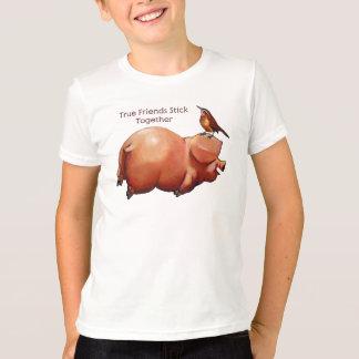 T-shirt Bâton de véritables amis ensemble : Porc mignon