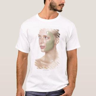 T-shirt beauté, humide, spa, cheveux, blonde, yeux bleus