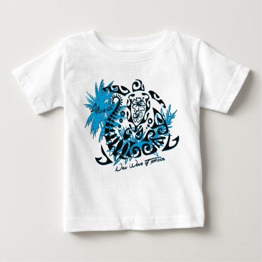 T-shirt bébé blanc tortue polynésienne