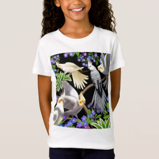 T-Shirt Bébé de filles de Cockatiels et de fleurs -
