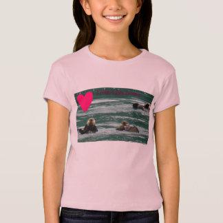 T-shirt bébé de filles de loutres de mer du coeur i -