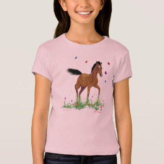 T-shirt Bébé de filles de poulain et de papillons - la