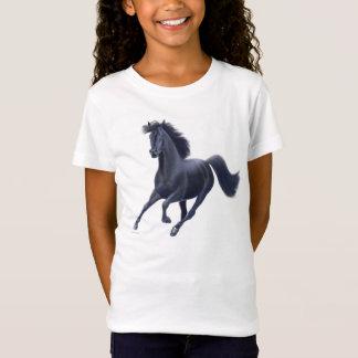 T-Shirt Bébé noir de filles de cheval de pur sang -