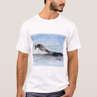 T-shirt Bébé phoque de natation, aquarelle