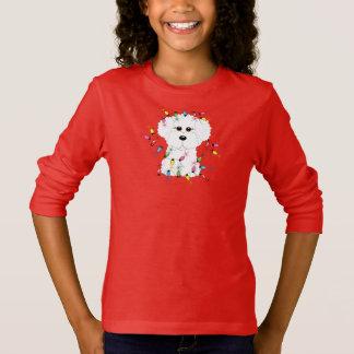 T-shirt Bichon Frise avec des lumières de Noël