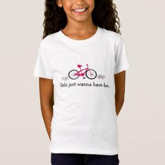 T-Shirt Bicyclette rose avec l'énonciation mignonne