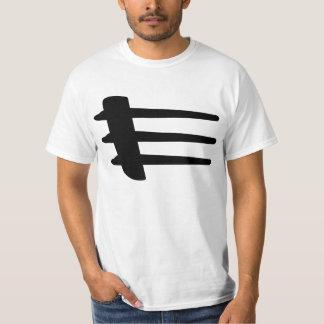 T-shirt blanc de base de liston de côté de courant