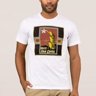 T-shirt blanc de café d'étoile de grenouilles